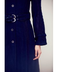 Free People Womens Fp New Romantics Topographic Trench - Blue