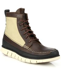 Cole Haan Zerogrand Leather & Canvas Lace-Up Boots - Lyst