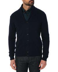 Hackett Navy Blue Fine Gauge Wool And Cashmere Shawl Cardigan - Lyst