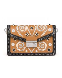 Prada Embroidered Saffiano Shoulder Bag - Lyst