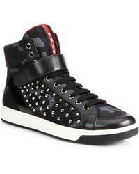 Prada Nylon Studded High-top Sneakers - Lyst