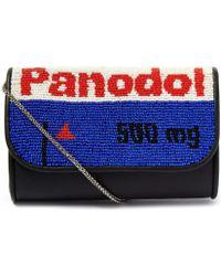 Sarah's Bag - Mini Blue Straight Panodol Beaded Shoulder Bag - Lyst
