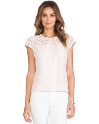 Milly Lace Cap Sleeve Top - Lyst