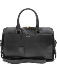 Saint Laurent Duffle 6 Leather And Calf Hair Bowling Bag - Black