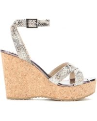 Jimmy Choo Papyrus Embossed Leather Wedge Sandals - Lyst