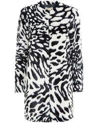 MICHAEL Michael Kors Animal Print Faux Fur Coat black - Lyst