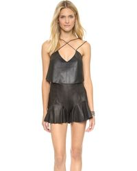 Shakuhachi Strappy Leather Crop Top  Black - Lyst