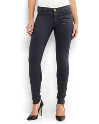 Current/Elliott Navy Coated Skinny Jeans - Lyst