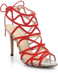 Alexandre Birman Snakeskin And Suede Cage Sandals - Lyst