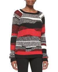Milly Graphic Stripe Pullover Sweater - Lyst