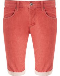 Armani Jeans Selvedge Cotton Stretch Jean Shorts - Red