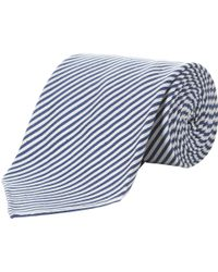 Aquascutum - Fine Stripe Silk Cotton Tie - Lyst