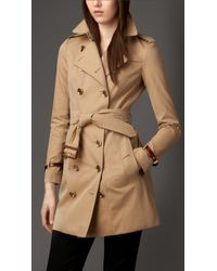 Burberry Leather Trim Cotton Gabardine Trench Coat - Lyst