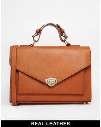 Asos Leather Satchel Bag - Lyst