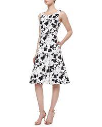 Carolina Herrera Pansy-Print A-Line Tank Dress - Lyst