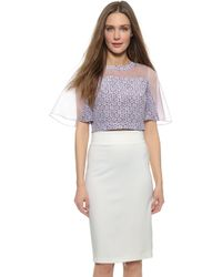 Rebecca Taylor Paisley Crop Top - Admiral Combo - Lyst