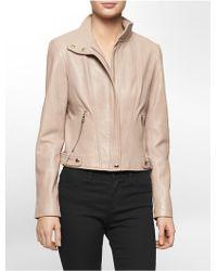 Calvin Klein White Label Zip Front Leather Moto Jacket - Lyst