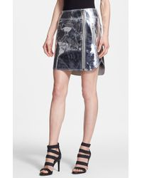 McQ by Alexander McQueen Coated Leather Biker Skirt silver - Lyst
