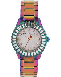Betsey Johnson Ladies Iridescent Watch with Crystal Baguette Case - Lyst
