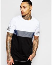 ASOS | Longline T-shirt With Mesh Cut And Sew | Lyst