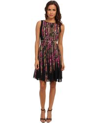 Adrianna Papell Fractured Floral Dress - Lyst