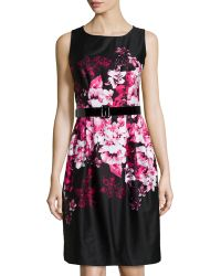 Chetta B Belted Floral-Print Sateen Dress - Lyst