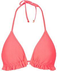 Topshop Coral Textured Triangle Bikini - Lyst