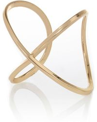 River Island Yellow Gold Tone Cross Cuff Bracelet - Lyst