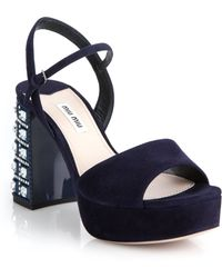 Miu Miu | Crystal Painted Heel Suede Platform Sandals | Lyst