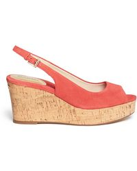 MICHAEL Michael Kors 'Natalia' Cork Wedge Suede Sandals - Lyst