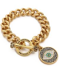 Juicy Couture - Pave Evil Eye Charm Bracelet Gold - Lyst