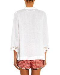 Easton Pearson Take Away Mitre Embroidered Linen Top - White