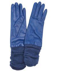 Portolano | Denim Perforated Leather Rib Knit Wool Blend Cuff Gloves | Lyst