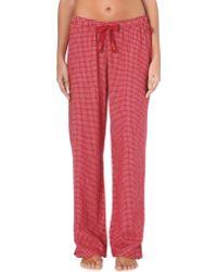 Calvin Klein Checked Cotton Flannel Pyjama Bottoms - For Women red - Lyst