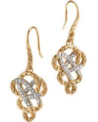 John Hardy Classic 18K Gold & Diamond Braided Drop Earrings - Lyst