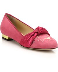 Charlotte Olympia   Eccentric Suede Kitty Flats   Lyst
