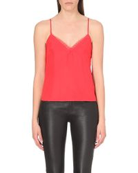 The Kooples - Lace-Trim Silk Camisole - For Women - Lyst