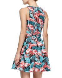 Elle Sasson - Abigale Flamingo-print Twill Dress - Lyst