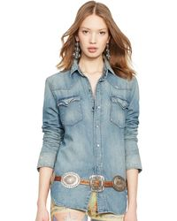 Ralph Lauren Denim Western Shirt - Lyst