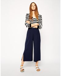 Asos Wide Midi Pant with Contrast Waistband - Lyst