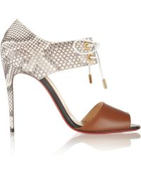 Christian Louboutin Mayerling 100 Leather And Python Sandals - Lyst
