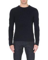 Ralph Lauren Black Label Zip-Detail Ribbed-Knit Jumper - For Men - Lyst