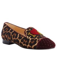 Christian Louboutin Rouge and Leopard Calf Hair My Love Quilted Toe Loafers - Lyst