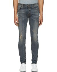 Diesel Faded and Patched Sleenker Jeans - Lyst