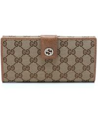 Gucci Beige Leather Trim Gg Canvas Continental Wallet - Lyst