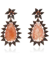 Karma El Khalil - Gold Blackened Sunstone Rock Earrings - Lyst