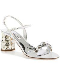 Miu Miu Jeweled Ankle Strap Leather Sandal - Lyst