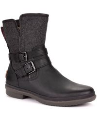 UGG Simmens Waterproof Leather Ankle Boots - Black