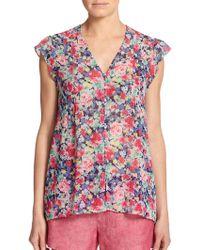 Joie Macy Silk Floral Print Blouse - Lyst