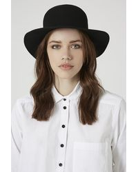 Topshop Flat Brim Bowler Hat - Lyst
